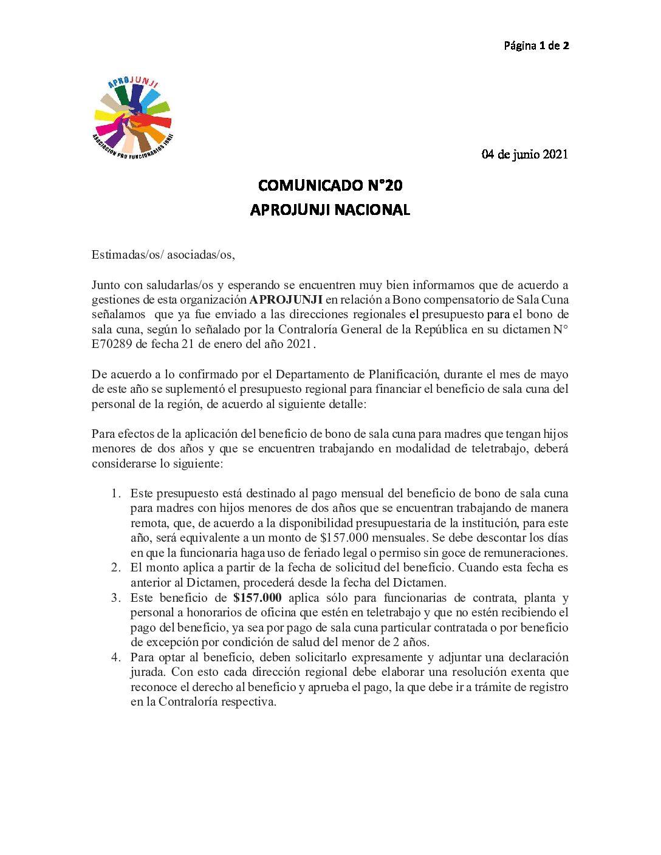 COMUNICADO N°20: Bono compensatorio de Sala Cuna  2