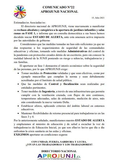 COMUNICADO 22: rechazo absoluto y categórico a la apertura de jardines infantiles y salas cunas en FASE 1