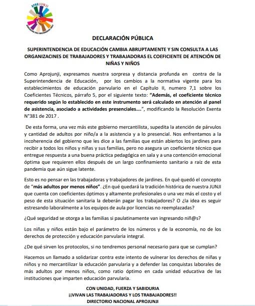 DECLARACIÓN PÚBLICA: SUPERINTENDENCIA DE EDUCACIÓN CAMBIA ABRUPTAMENTE Y SIN CONSULTA A LAS ORGANIZACINES DE TRABAJADORES Y TRABAJADORAS EL COEFICIENTE DE ATENCIÓN DE NIÑAS Y NIÑOS