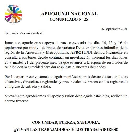 COMUNICADO N° 25: APROJUNJI MANTIENE PARO DE BRAZOS CAIDOS