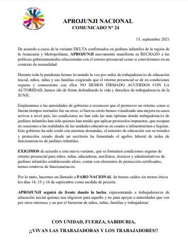 COMUNICADO N° 24: APROJUNJI llama a Paro Nacional de Brazos caídos por casos de variante Delta en Región Metropolitana y Araucanía